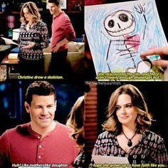 Brennan and Bones talking about Christine's drawing