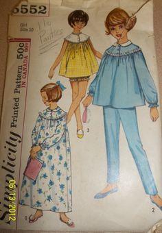 Vintage Simplicity 5552 Childs' Girls' nightgown by Bigwheel179, $2.00