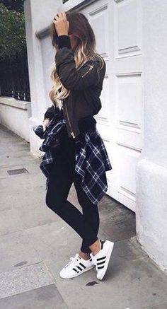 #winter #fashion / leather jacket + plaid