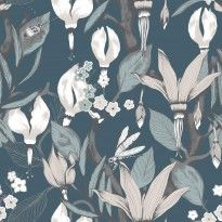Haltiatar by Vallila - Turquoise - Wallpaper : Wallpaper Direct Buy Wallpaper Online, New Wallpaper, Wallpaper Roll, Turquoise Wallpaper, Botanical Wallpaper, Room Colors, True Colors, Floral, Painting