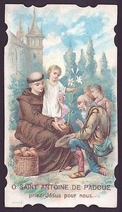 ST ANTHONY OF PADUA w/ CHILD JESUS GIVING BREAD Antique dat.1912 HOLY CARD