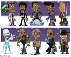 Cartoon Evolutions of Harrison Ford and Samuel L. Jackson by Jeff Victor — GeekTyrant