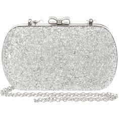 Silver Glitter Clutch with Rhinestone Bow Closure | Claire's ($35) ❤ liked on Polyvore featuring bags, handbags, clutches, rhinestone handbags, glitter handbag, rhinestone purses, silver handbags and glitter clutches