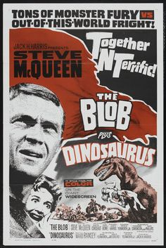 A pair of posters for The Blob / Dinosaurus Classic Sci Fi, Classic Horror Movies, Horror Movie Posters, Movie Poster Art, Sci Fi Horror, Horror Films, Horror Art, Cinema, Internet Movies