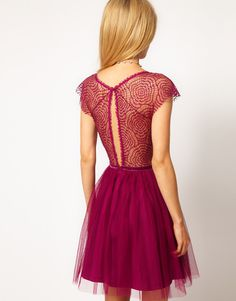 ASOS | ASOS Skater Dress with Cobweb Lace at ASOS