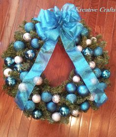 """Blue and Silver 18"""" Christmas Holiday Wreath specialty made for you.  www.ilovekreativecrafts.com"""