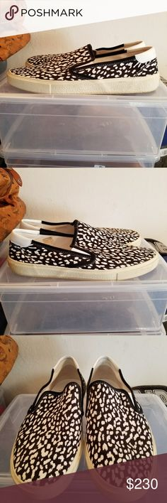 Saint Laurent Leopard Slip On Saint Laurent Slip On Circa: 2010s Condition: Worn 2x. Shoes are still in new condition. Comes with replacement box. Size: 14.5 Mens  All items will be mailed within 48hrs after purchase followed by tracking number.    Thanks for visiting Saint Laurent Shoes Loafers & Slip-Ons