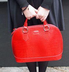 OSPREY LONDON Ladybug Large Croc Grab Handbag, Orange | Style N ...