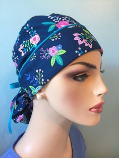 Lilly Pulitzer inspired  European Surgical cap   Surgical Scrub cap   bouffant  hat  Bouffant ponytail hat   made to order ee69cbbe5361