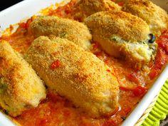 Bifes de frango recheados com requeijão