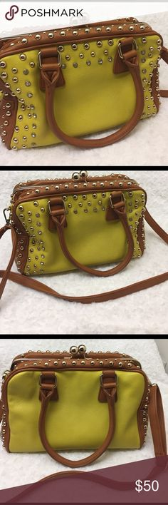 """Studded Yellow and Tan Rose Gold Crossbody Purse Gorgeous used, basically new - excellent condition purse. This purse comes with detachable Crossbody strap, rose gold and diamond studded. Purse is more of a yellow green color. Very minor scratches on bottom of purse, but basically in excellent condition! Medium size purse: Measures 13"""" x 8.5"""". Bags Crossbody Bags"""