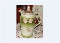 Antique Chocolate Pot, Porcelain Pitcher and Lid, Green on White, Pink and White Flowers, Gold Trim & Embellished, Scalloped bottom by BackStageVintageShop on Etsy