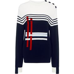 Breton Annie Sweater (1.880 BRL) ❤ liked on Polyvore featuring tops, sweaters, cutout sweater, blue sweater, blue top, breton top and retro tops