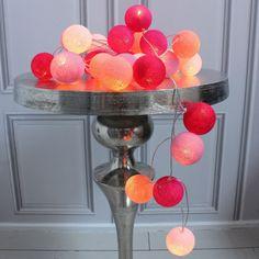Pink Cotton Ball String Lights - Christmas Gifts For Her - Christmas