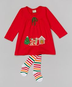 This Red Gingerbread Appliqué Dress & Tights - Infant & Toddler by the Silly Sissy is perfect! #zulilyfinds