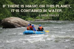 """If there is magic on this planet, it is contained in water."" - Loren Eiseley"