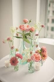 pink floral arrangements in glass bottles, DIY wedding planner with ideas and tips including DIY wedding decor and flowers. Everything a DIY bride needs to have a fabulous wedding on a budget! Deco Champetre, Loft Wedding, Trendy Wedding, Wedding Reception, Chic Wedding, Floral Wedding, Wedding Favors, Card Table Wedding, Wedding Catering