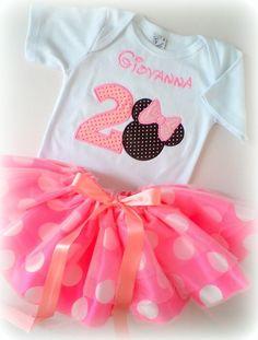 Camiseta E Saia - Minnie Rosa - Maria Amora - Arte em Pano