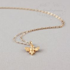 Stocking Stuffer - Little Gold Bee Necklace, Gold Bee Charm, Bumble Bee, Honeybee, 14k Gold Bee, Silver Bee Jewelry, Dainty Mom Jewelry by ACharmedImpression on Etsy https://www.etsy.com/listing/115307398/stocking-stuffer-little-gold-bee