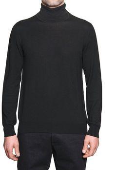 Ferragamo Turtle Neck Wool Sweater in Black for Men - Lyst