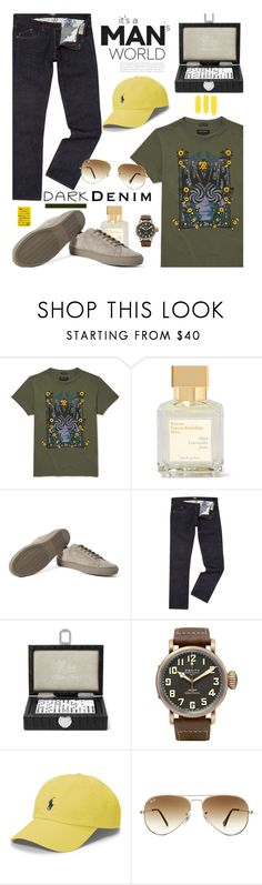 """""""Menswear Essential: Dark Denim"""" by hamaly ❤ liked on Polyvore featuring Polo Ralph Lauren, Ray-Ban, men's fashion, menswear, darkdenim and menswearessential"""