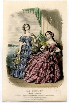 1853. Evening dresses, Le Follet, Summer fashion by Anais Toudouze