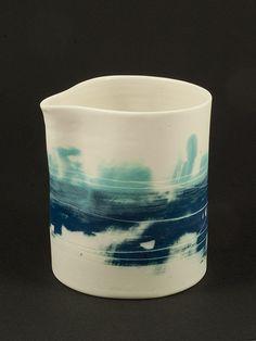 Junction Art Gallery - Ali Tomlin Aqua and Teal Jug Lisa Hammond, Cylinder Vase, Ali, Art Gallery, Ceramics, Winter, Artist, Ceramica, Winter Time