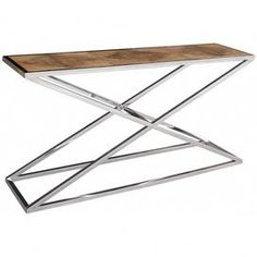 Equal parts contemporary and rustic, this chic console table offers a reclaimed elm wood top and contrasting x-shaped chrome-finished base.