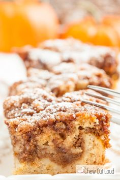 This Pumpkin Pie Coffeecake is literally a cross between pumpkin pie and a fall-spiced coffeecake. Ridiculously moist and perfect for the holidays!!