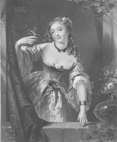 etching lady in fancy gown with bird on hand
