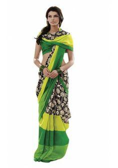 Black & Green Bhagal Puri Silk Saree Rs.1,550