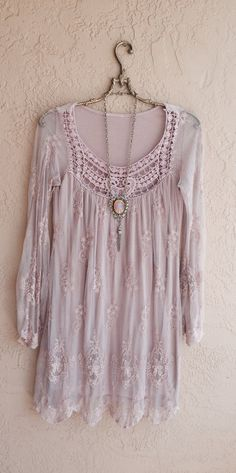 Blush pink Sheer Bohemian embroidered Dress .