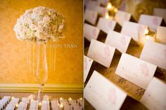 White and Gold wedding ~ Escort card table decor