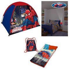 Amazon.com: Marvel Ultimate Spiderman 4 Piece Indoor / Outdoor Kids Camp Set - Play Tent, Sleepover Set & Night Light: Toys & Games