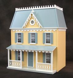 Doll House Kits - Cranberry Mansard roof design creates an extra spacious third floor. Cabinet grade materials used, nail and glue assembly. From Real Good Toys. So simply perfect! I love this dollhouse kit!
