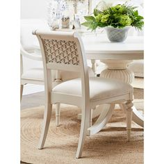 With its seat upholstered in a stain-resistant fabric and its scrolled back accented with a honeycomb motif, the Cypress Grove Side Chair provides the perfect combination of comfort and style. Furniture, Stanley Furniture, Furniture Design Modern, Plywood Furniture, Futuristic Furniture, Upholstered Seating, Chair, Side Chairs Dining, Side Chairs