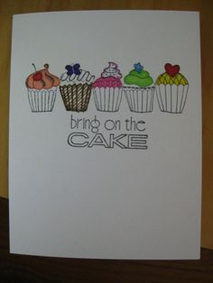 Cupcake card - hand stamped and colored on Etsy, $5.12