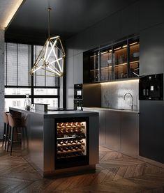 Graphic & coussin design by Georgescreative - - Loft Interior Design, Luxury Kitchen Design, Kitchen Room Design, Home Room Design, Home Decor Kitchen, Kitchen Interior, House Design, Loft Design, Home Interior