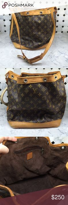 Vtg Louis Vuitton Noe Bucket bag Medium size. In very good vintage condition. Some aftermarket changes as pictured. Mild cracking to shoulder strap. LV Scarf as drawstring. Interior is brown suede and is in decent condition. Corners look as pictured. Handle Have been touched up with Rio red hot pink leather paint. Louis Vuitton Bags Crossbody Bags