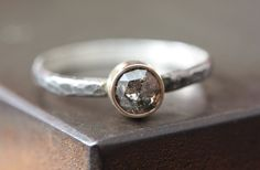 Natural Charcoal-Grey Rose Cut Diamond Ring - engagement, mixed metal, 14kt gold, sterling silver, hammered, rustic. $365.00, via Etsy.