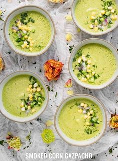 Smoked Corn Gazpacho - Savory wood-smoked corn adds a unique summery note to this beautiful, light and refreshing chilled soup. Vegetable Soup Recipes, Healthy Soup Recipes, Cooking Recipes, Healthy Food, Vegetarian Soup, Vegan Soups, Gazpacho Recipe, Chilled Soup, Organic Recipes