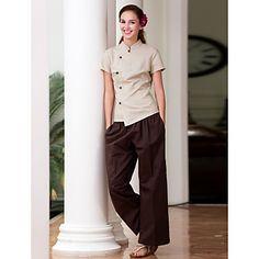 SPA Uniforms Women's Short Sleeve Mandarin Collar Spa Smock - USD $ 35.99