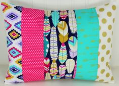Nursery Pillow Cover, Patchwork Pillow Cover, Nursery Decor, 12 x 16 Inches, Magenta, Pink, Teal, Feathers, Gold, Tribal, Aztec, Arrows,Boho