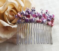 Bridal Hair Comb Lillac and Pink Pearls and Crystals, Siutable for Bridesmaid,Flower Girl, Special Occasion
