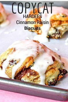 Copycat Hardee's Cinnamon Raisin Biscuits -- these are AMAZING!!