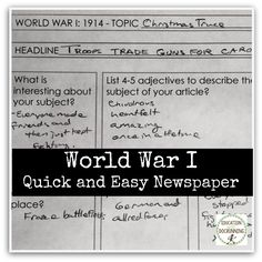Quick and easy newspapers for every year of World War I are an engaging way to work with the events, people and ideas of World War I. Great for middle and high school social studies.