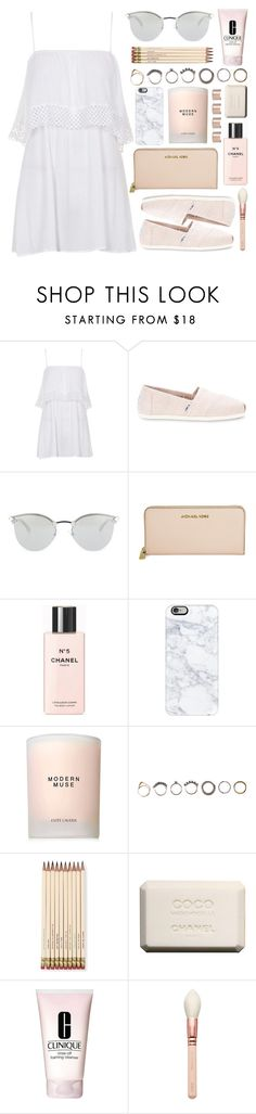 """""""Untitled #221"""" by rachelallegra ❤ liked on Polyvore featuring Topshop, TOMS, Fendi, Michael Kors, Chanel, Casetify, Estée Lauder, Iosselliani, Kate Spade and Clinique"""