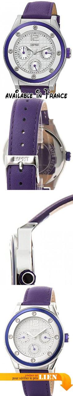 B008CPBAU4 : Esprit - ES104172003 - Solana - Montre Femme - Quartz Analogique - Cadran Argent - Bracelet Cuir Violet. 60 Gr. Montre Boite de présentation Coussin Guarantie. Montre pour Femme à mouvement Quartz - Bracelet en Cuir Violet. Type d'affichage : Analogique. Diamètre du cadran : 39 millimètres. Épaisseur du boîtier : 9 millimètres. Largeur du bracelet : 17 millimètres. Esprit. Affichage 24h;;
