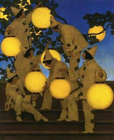 Maxfield Parrish.The Lantern Bearers, 1908, oil on canvas on board. Parrish was know for his uses of glazes and saturated color.