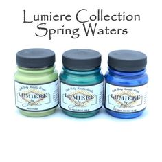 Beautiful metallic paints in popular luminescent shades for fabric, leather, paper and wood. These are fixable on fabric by pressing with an iron. Try these on linen burlap to add a shimmery accent to